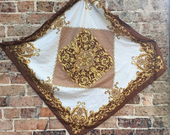 Vintage 80's Gold & Brown Baroque Silk Scarf
