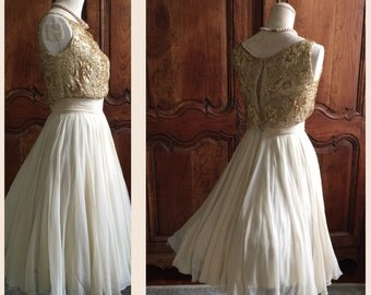 1950s Wedding Dress Ceil Chapman Gold Party Dress Vintage 50s Gold Dress Sequins bodice 1950s Full skirt Designer Gold Beads Cream Cocktail