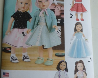 Simplicity 8072 - American Girl Dress-Skirt doll clothes pattern - New Release