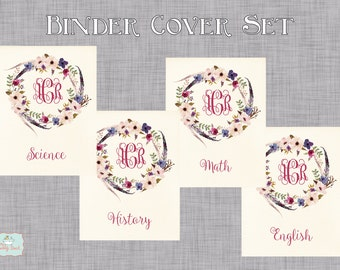 Floral Tribal Personalized Binder Cover Set
