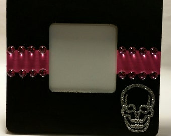 Black and Pink Skull Picture Frame
