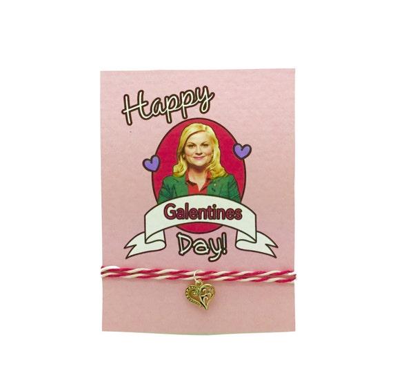Friendship Bracelet: Girls BFF Valentine's Bracelet, Greeting Card Gift! GALENTINES Day! Lesley Knope Parks & Recreation. Charm Bracelet!