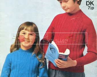 Childrens Raglan Sweaters 6-10 years DK Sirdar 4071 Vintage Knitting Pattern PDF instant download