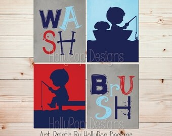 Boy Fishing Bathroom Art Wash Brush Bathroom Prints Red Navy Blue Gray Bathroom wall art Toddler Boy bathroom Boy fisherman Art Prints #1417
