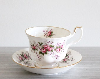 Vintage White Shabby Chic Royal Albert Lavender Rose Tea Cup and Saucer with Pink Rose Floral Motif in the Montrose Style - Made in England