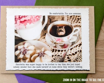 Funny Hippo Greeting Card • Blank Inside Card • Awesome Greeting Card • Positive Message Card • Funny Inspirational All Occasion Greeting