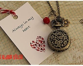 Flower Bouquet Pocket Watch Pendant Necklace Daisy Victorian Style Bronze Antique