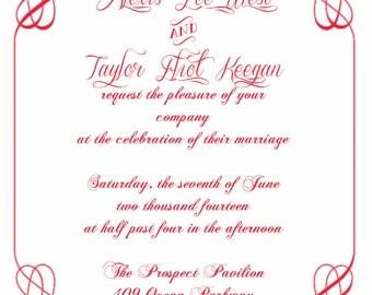 Filigree Border Wedding Invitation
