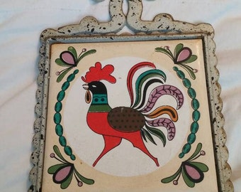 On Sale Arco White Cast Iron and Ceramic Rooster Trivet or Wall Decor Made in Japan