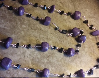 Handmade 30 inch chinese amethyst nugget and black jasper stone necklace