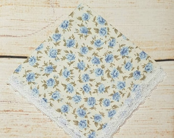 Wedding Handkerchief - Mother of The Bride - Hanky - Something Blue - Embroidered - Floral - Lace - Whimsical - Personalised -  Traditional