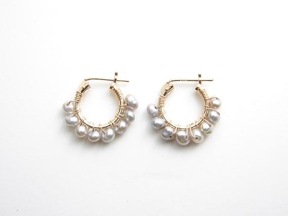 Small Grey Pearl Hoop Earrings 14k Gf Hoop Earrings Wire