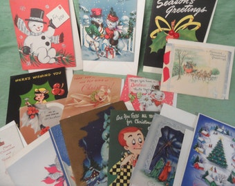 Unused vintage Christmas card lot of 16 with envelopes  Holiday Greeting Cards