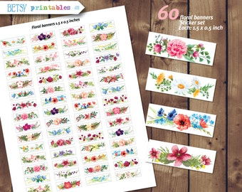 60 Printable stickers, Floral planner stickers, Printable Stickers, flowers stickers, floral banners - 422