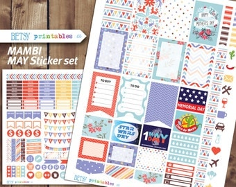 MAMBI May Planner stickers Printable Stickers, May planner stickers, May, Happy Planner -  433