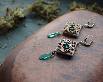 boho green Swarovski earrings, ethnic jewelry, indian earrings, indian jewelry, hippie earrings