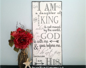 I Am His sign Hand Painted Chalkboard Style Sign, Distressed Wood, Typography Word Art, I am Daughter of King, Christian Sign, Inspirational