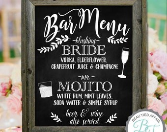 Wedding Bar Menu Chalkboard Sign • Personalized Wedding Menu • Bar Menu • Signature Drinks • Signature Cocktails • Bride Recommends