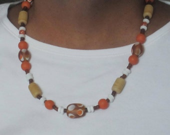 Orange, Beige, White Necklace and Earring Set// IH #1125