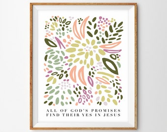 All of God's Promises Folk Floral Pattern Print from Original Painting (2 Corinthians 1:20) - Printable, INSTANT DOWNLOAD