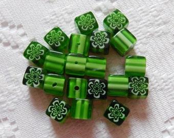 16  Shamrock Green & White Flower Millefiori Square Cube Lampwork Glass Beads  8mm