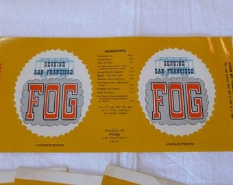 7 Vintage Jar Labels~~Genuine San Francisco Fog~~Souvenir Fog Labels For San Francisco~~Packed by Fink~~San Francisco Tourist Ephemera