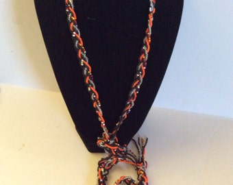 Beaded knot necklace 54 in