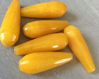 Jade Beads, Faceted Elongated Tear Drop, Yellow, 29mm Long x 11mm Wide, 6 pieces