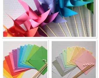 10 paper pinwheels kit SPINNING NO PINS - pastel brights baby shower wedding