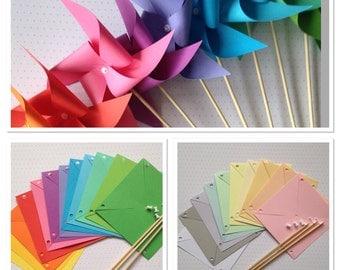 10 paper pinwheels kit SPINNING NO PINS - pastel brights baby shower wedding