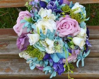 artificial flower wedding bridal bouquet purple blue real touch rose dendrobium