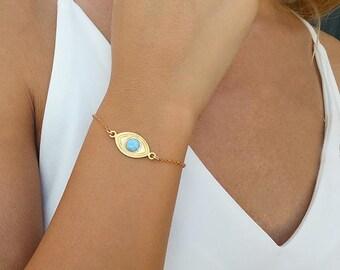 Evil eye bracelet, Blue opal bracelet, Gold charm bracelet, Gold bracelet, Evil eye jewelry, Opal jewelry, Evil eye charm, Everyday bracelet