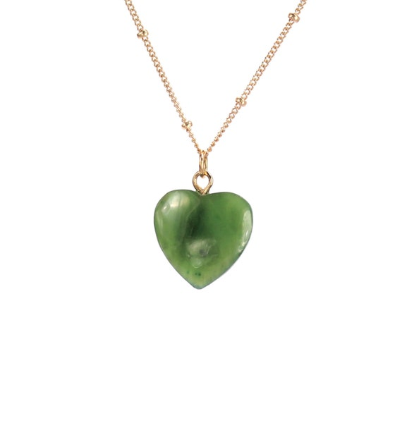 Jade necklace - jade heart necklace - canadian jade - heart necklace - a genuine alaskan jade heart on a 14k gold vermeil chain