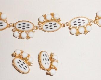 1950'S GAGA bracelet earrings set white and black milk glass rhinestones clip on earrings set gold plated  Free USA Shipping