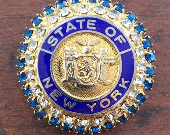 NY State Seal Blue Rhinestone Enamel Brooch Lapel Pin