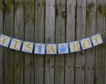 Baby Shower  Banner  IT S A BOY Decoration Birthday Banner Baby Boy Banner