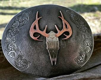 Deer Belt Buckle, Hunting Buckle, Custom Buckle,  Hunter Buckle, Deer Skull Buckle, Mens Belt Buckle,  Engraved Buckle, Mens Valentine Gift