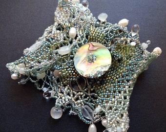 Seafoam Beaded Mermaid Cuff