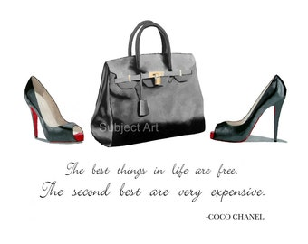 ART PRINT of Christian Louboutin Black Shoes, Hermes Birkin Bag, Coco Chanel Quote, Fashion Gifts, Wall Art, Home Decor