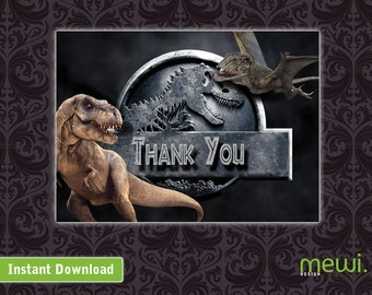Jurassic World Thank You Cards (INSTANT DOWNLOAD)