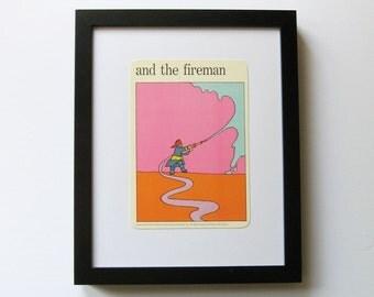 the fireman - Firehouse Art Print - Vintage MOMA Art Card - Pop Art Illustration - Typography Art - Museum of Modern Art - Paper Ephemera