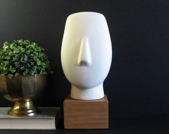 Vintage Cycladic Bust - White Ceramic Head Sculpture - Faux Bois Base - Minimalist Sculpture - White Home Decor - Minimal Art - Ceramic Bust