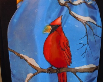 Hand painted silk scarf cardinals in a snowy tree. Original design.