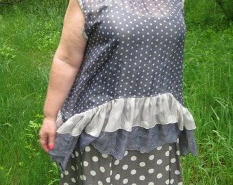 Lagenlook asymmetrical polka dot tunic with ruffles