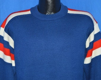 70s Meister Blue Striped Pullover Striped Acrylic Ski Sweater Large