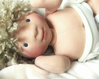 Baby Waldorf Doll, Waldorf Inspired, Steiner Doll, Organic Natural Doll, OOAK, Custom Made, Handmade by Falabella Dolls
