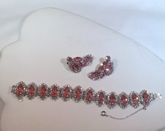 Pink and Clear Weiss Bracelet and Earrings