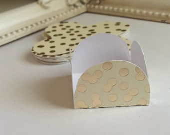 12 Gold/Ivorg Cake Pop - Chocolate truffle wrapper papers, liners or favor box.