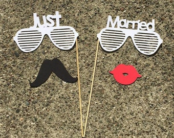 4-pc JUST MARRIED Photo Props - Photo Booth Props, Photobooth Props, Wedding Props, Wedding, Bridal Shower, Bachelorette Party, Party Props