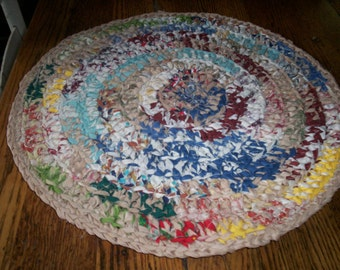 """Multi-Colored 16 1/2"""" Round Crocheted Table Topper"""